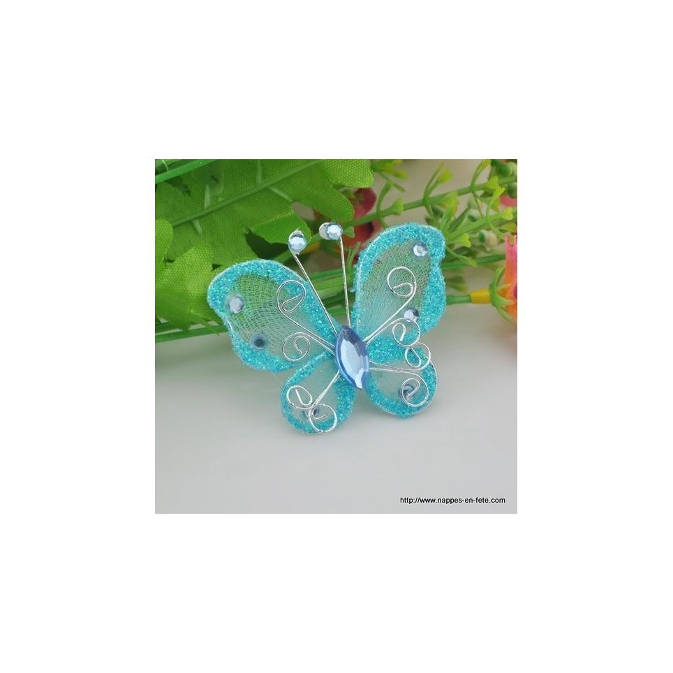 Papillon turquoise pour d co de table de f te - Decoration de table theme papillon ...