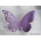 Marque place papillon lavande foncé en carton découpé