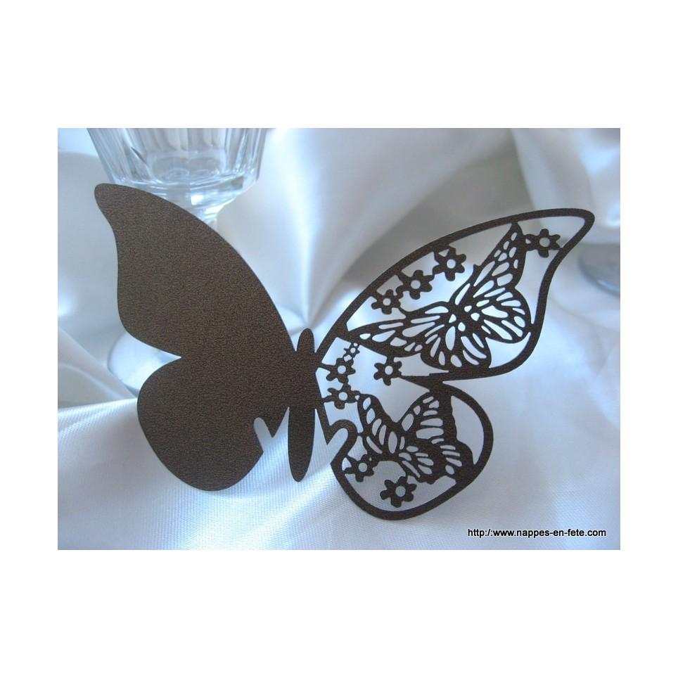 Marque place papillon chocolat en carton découpé