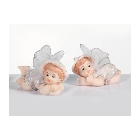 2 figurines assorties anges pour baptême
