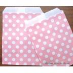 sachet papier rose à pois pour deco de table