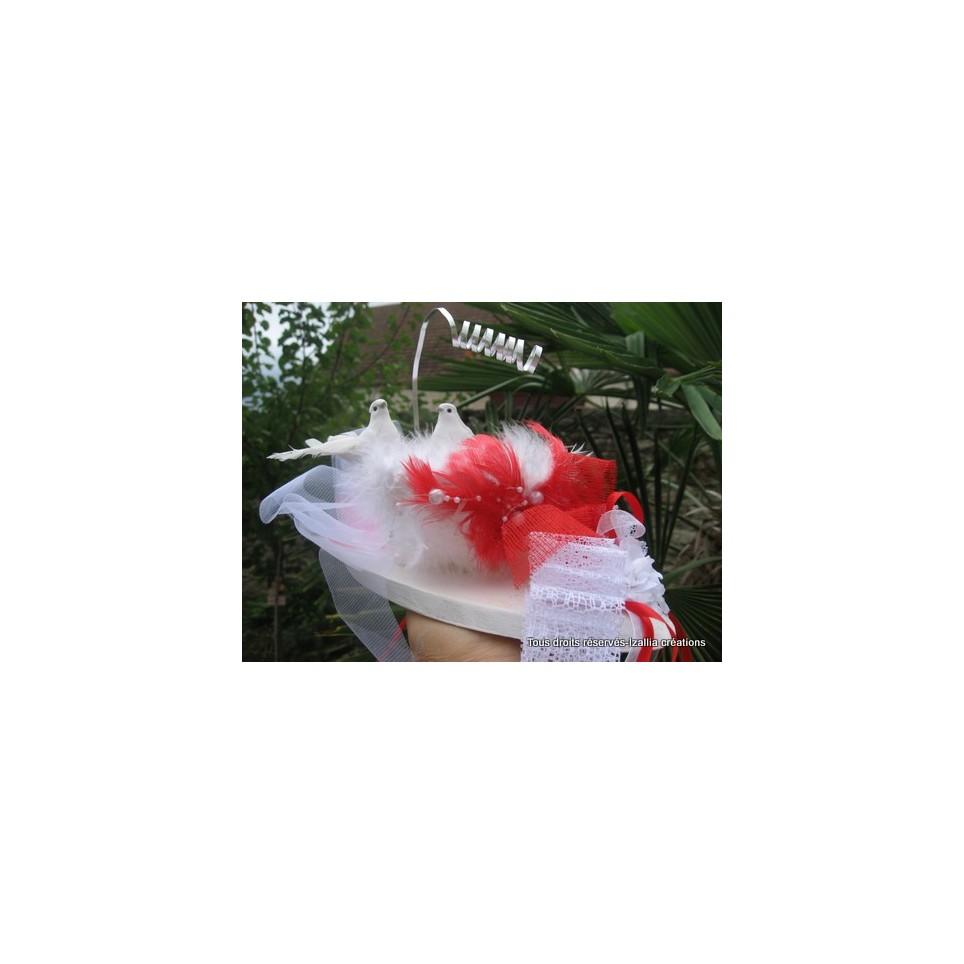Nid porte alliances fait main, rouge et balnc, pour un mariage original