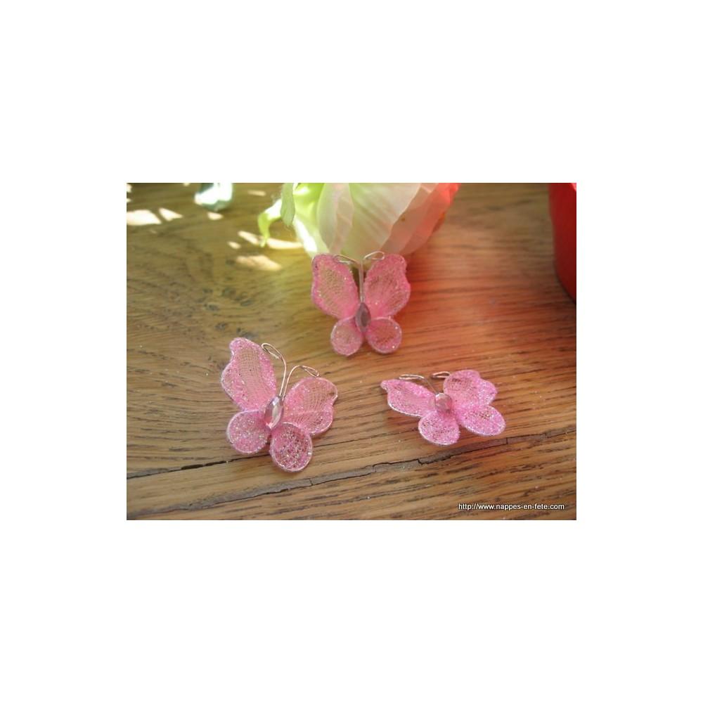 Papillon rose vif pour d co de table de f te - Decoration de table theme papillon ...