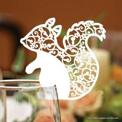 Marque place vezrre, écureuil pour mariage, anniversaire ou baptême