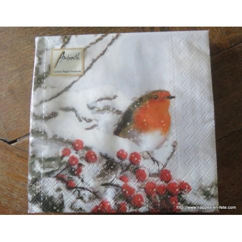 Serviette de table en papier motif oiseau rouge gorge