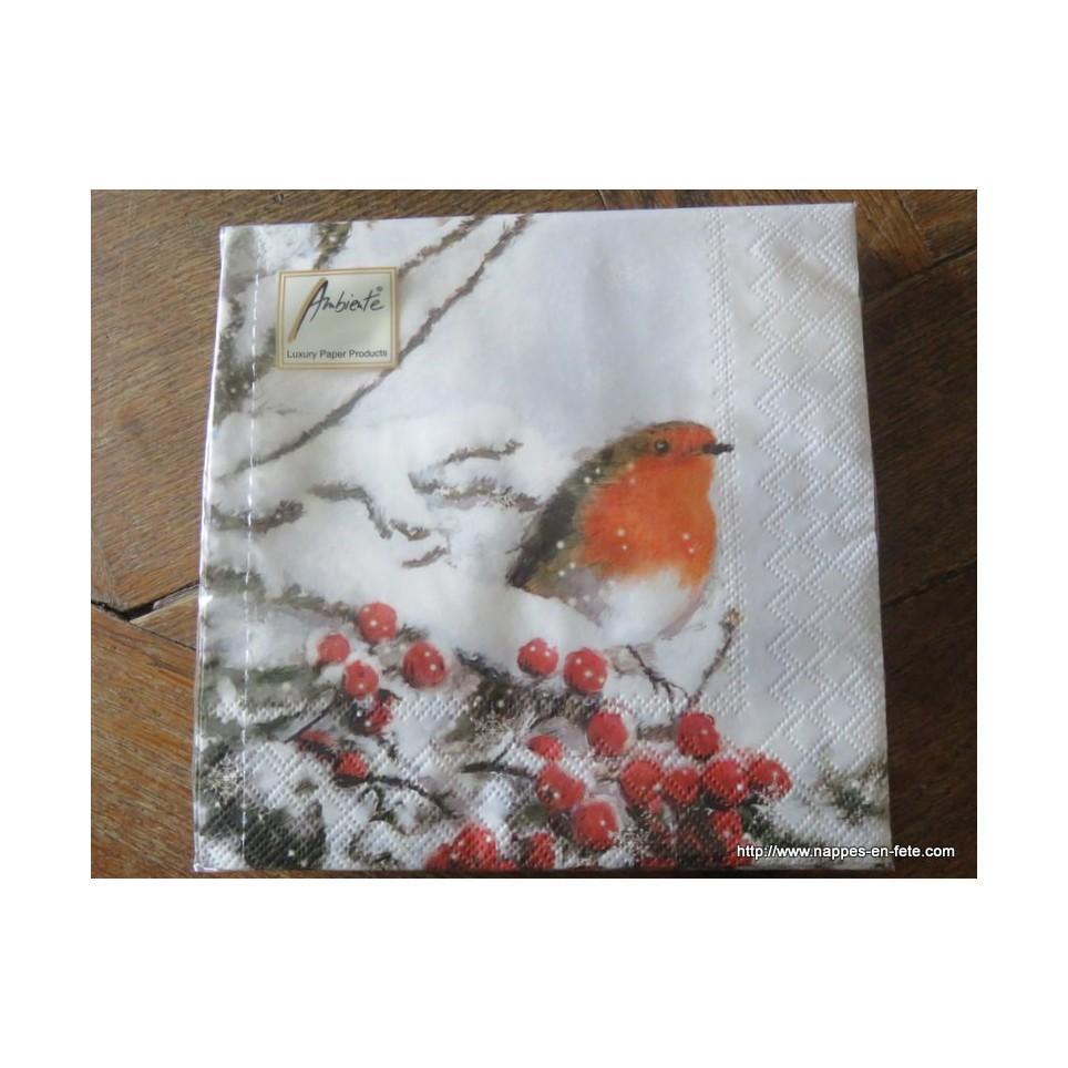 tr s belles serviettes en papier avec oiseaux rouge gorge. Black Bedroom Furniture Sets. Home Design Ideas