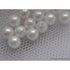 Perles blanches diamètre 8mm