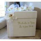 Tirelire de mariage ivoire personnalisée avec orchidées