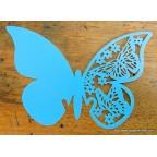 Marque place papillon turquoise en carton découpé