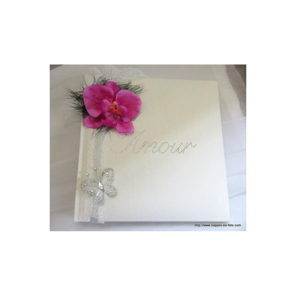 Livre D Or Personnalise Orchidee Rose Fushia