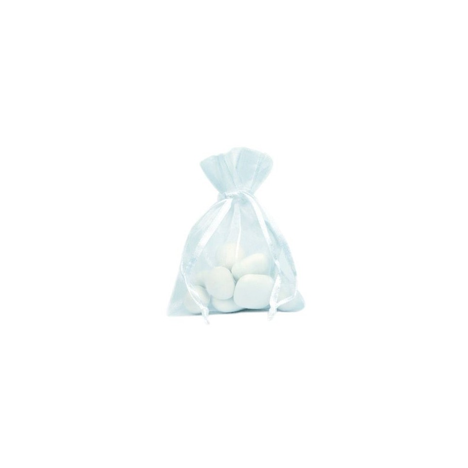 Les 10 sachets à dragées en organza blanc