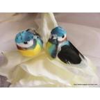 Petits oiseaux artificiels bleus