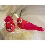 couple d'oiseaux artificiels fushia