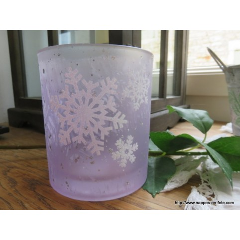 Photophore en verre givré décoré de flocons