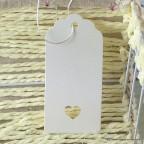 Etiquette tag carton blanc modèle moyen avec coeur
