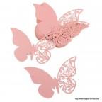 Marque place papillon, porte nom rose