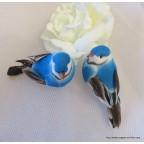 couple d'oiseaux artificiels bleus pour déco thème oiseaux