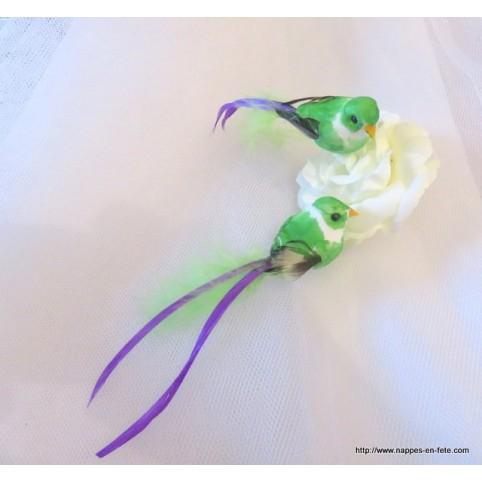 couple d'oiseaux artificiels pour déco thème oiseaux