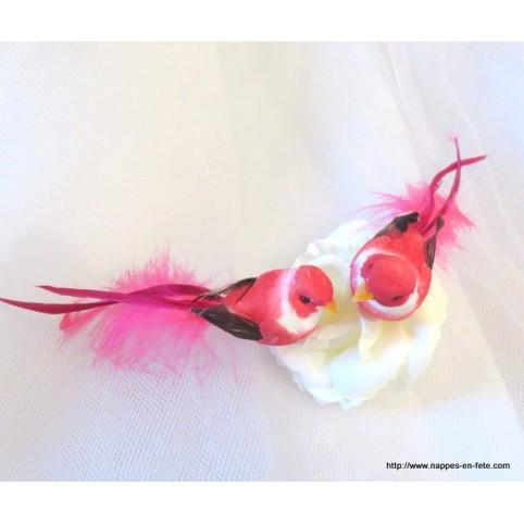 couple d'oiseaux artificiels rose pour déco thème oiseaux