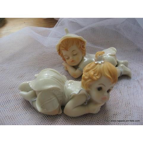 2 figurines anges assorties pour baptême ou naissance