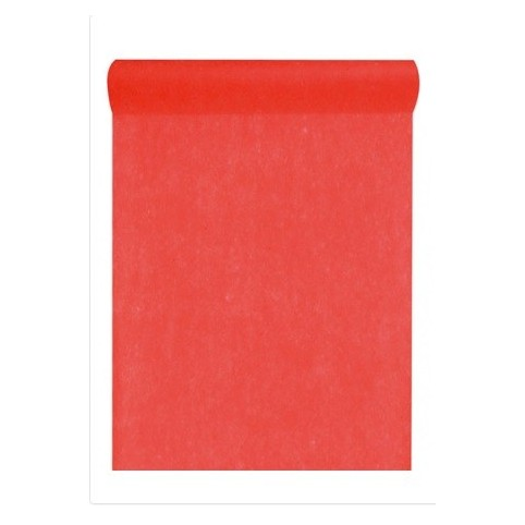 Chemin de table rouge intissé 10m