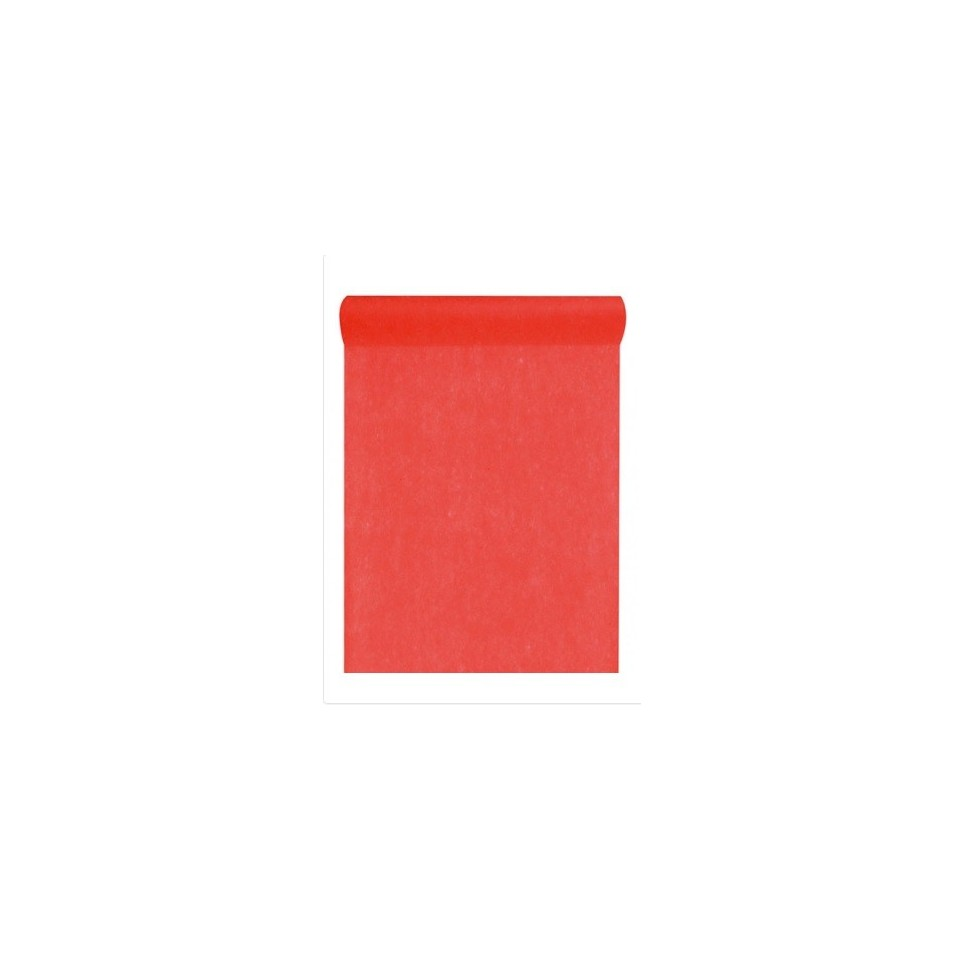 Chemin de table rouge intissé 10m