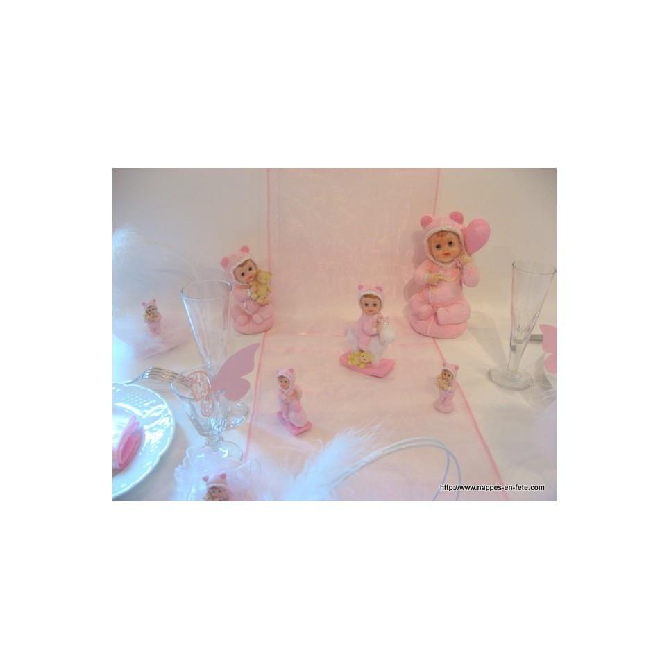 Chemin de table en organza rose