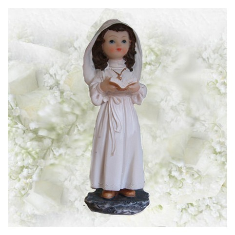 Figurine communiante en aube blanche