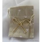 6 très jolis petits sacs assortis bicolore en lin écru orné de motifs