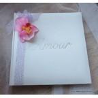 Livre d'or personnalisé orchidée rose et ruban lavande