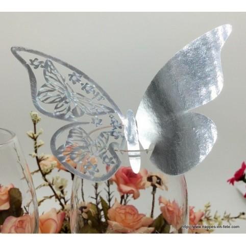 Marque place papillon argent façon métal