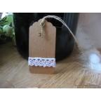 Etiquette carton kraft Grand modèle avec dentelle