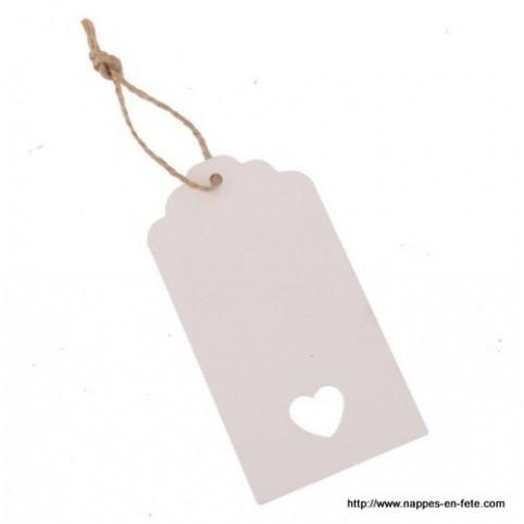 Etiquette Tag carton blanc Grand modèle avec coeur