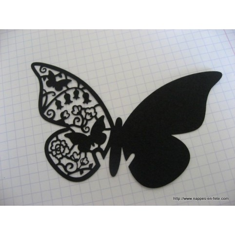 Marque place papillon noir intense en carton découpé