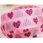 Ruban rose avec coeurs- gros grain 9 mm