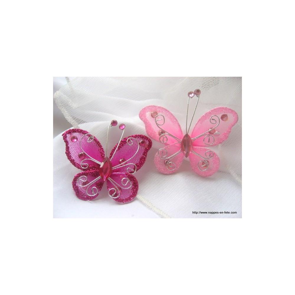 papillon rose fushia pour d co de table de f te. Black Bedroom Furniture Sets. Home Design Ideas