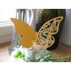Marque place papillon orange en carton découpé