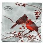 Serviette de table en papier motif oiseau cardinal