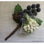 broche boutonnière au raisin, modèle grand cru
