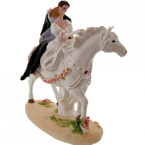 Originale figurine de mariés à cheval montant en amazone