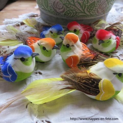 Lot de 12 petits oiseaux artificiels