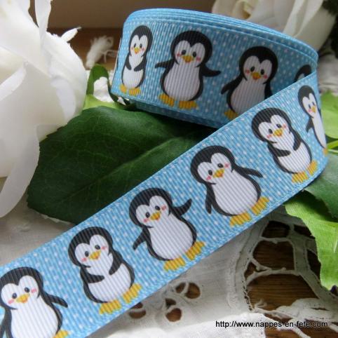 Ruban pingouins gros grain - Ruban thème oiseaux