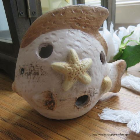 photophore poisson en céramique