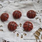 Ballon de basket, figurine sujet plat à coller