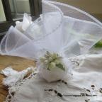 pochon ballotin à dragées blanc pour baptême, communion ou mariage