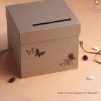 Tirelire de mariage carton kraft ornée de papillons