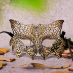 Masque renard, masque vénitien doré en dentelle