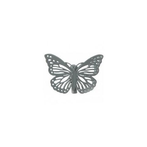 marque-place-papillon-metal-gris
