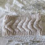 Bandeau cheveux en grosse laine avec torsade ou fleur