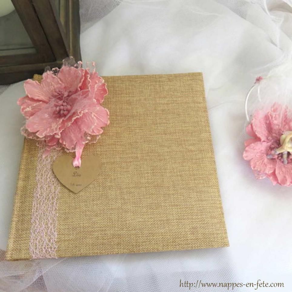 Livre d 39 or vintage en toile de jute avec dentelle et fleur pour jeune fille - Livre d or toile de jute ...